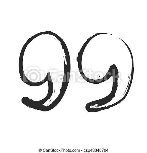 vector hand drawn quote mark, symbol icon - csp43348704