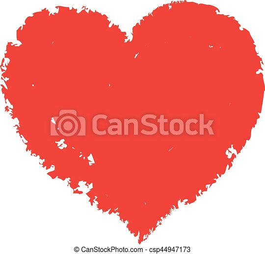 Vector hand-drawn red heart. - csp44947173