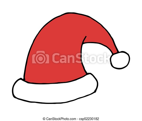 Christmas Hat Drawing.Vector Hand Drawn Santa Christmas Hat Doodle Icon