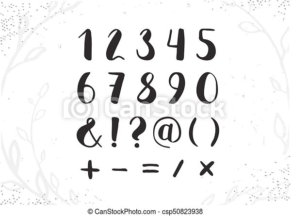 Vector Hand Drawn Script Numbers From 0 To 9 Digits Written With A Brush Pen Ink