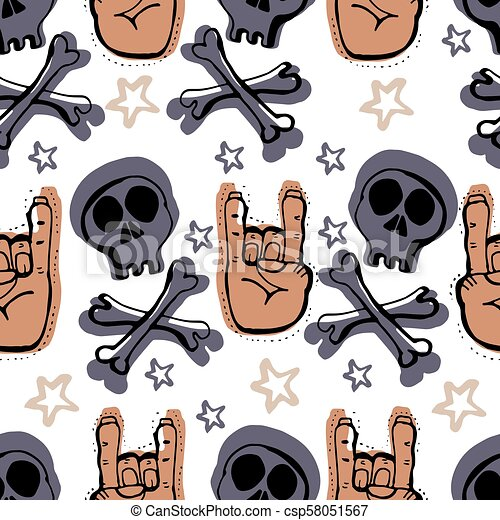 Vector Hand Drawn Seamless Patern Skulls Bones Punks Clip Art