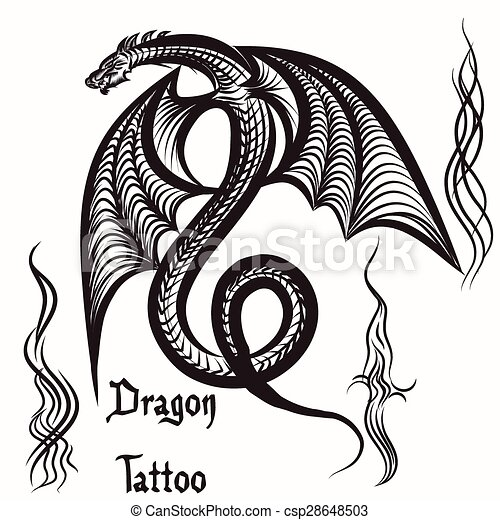 Vector Hand Drawn Tattoo With Winged Dragoneps