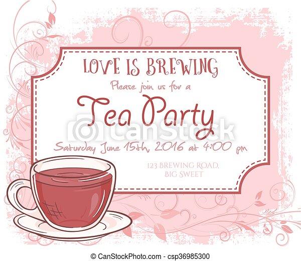 Vector Hand Drawn Tea Party Invitation Card Vintage Frame Glass