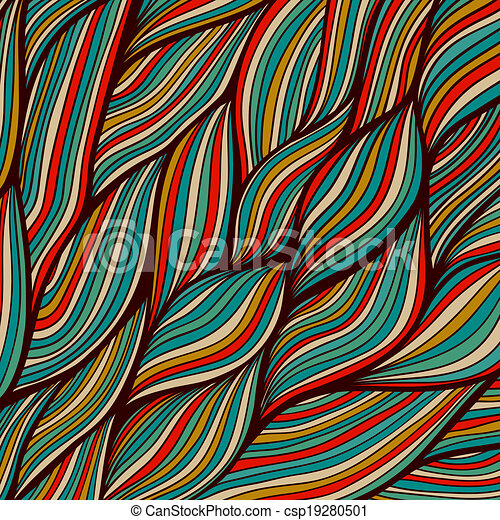 Vector hand-drawn waves texture, wavy background. Backdrop template design. Looks like leaf, water waves, hairs. Colorful abstract sea composition. Maritime. Tangled design. - csp19280501