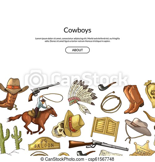 Vector hand drawn wild west cowboy elements background with place for text illustration - csp61567748