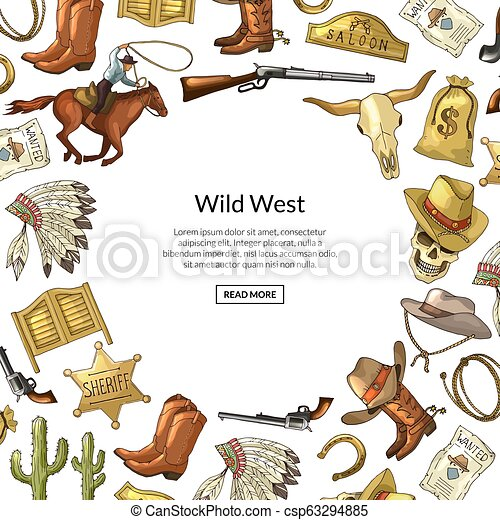 Vector hand drawn wild west cowboy elements background with place for text illustration - csp63294885