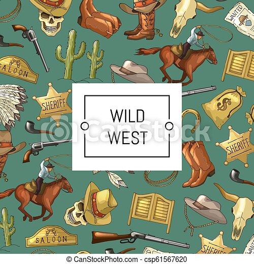 Vector hand drawn wild west cowboy background with place for text illustration - csp61567620