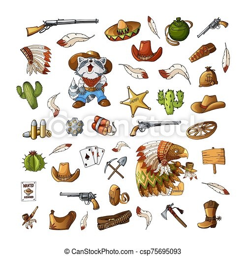 Vector hand drawn wild west indians elements stickers set illustration - csp75695093