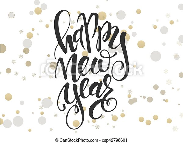 vector hand lettering new year greetings text with ellipses in gold color