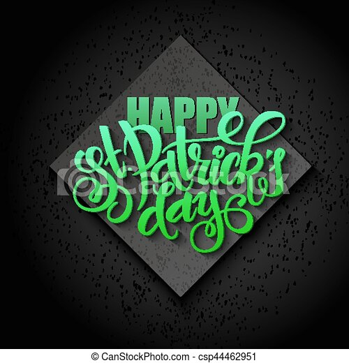Vector hand lettering saint patricks day greetings card with vector hand lettering saint patricks day greetings card with rhombus m4hsunfo