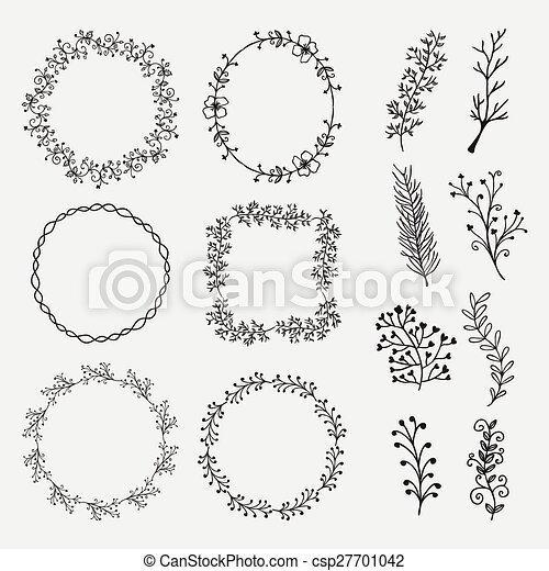 Vector hand sketched frames, borders, design elements. Collection of ...