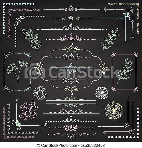 Vector Hand Sketched Rustic Design Elements Dividers