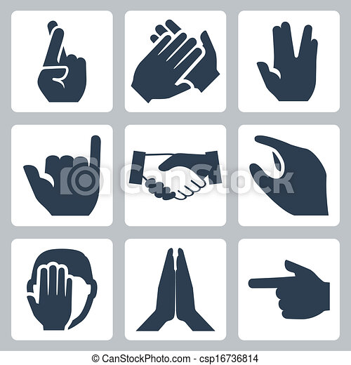 Vector hands icons set: cross fingers, applause, vulcan salute, shaka, handshake, size, facepalm, namaste, pointer - csp16736814