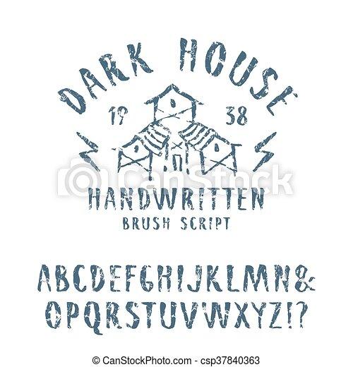 Vector handwritten brush font in horror style