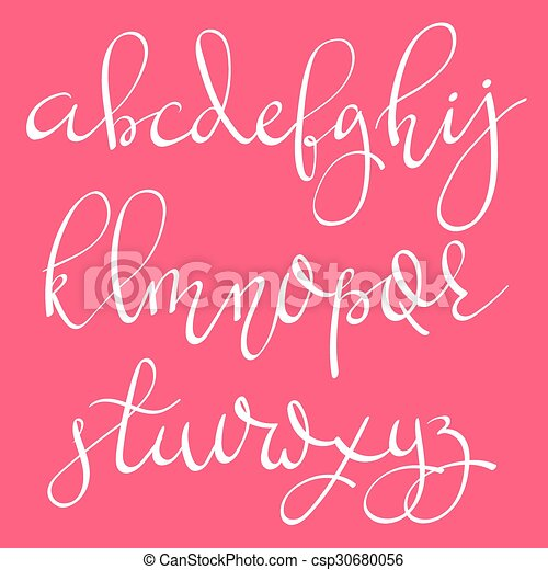 Vector handwritten pointed ink pen font