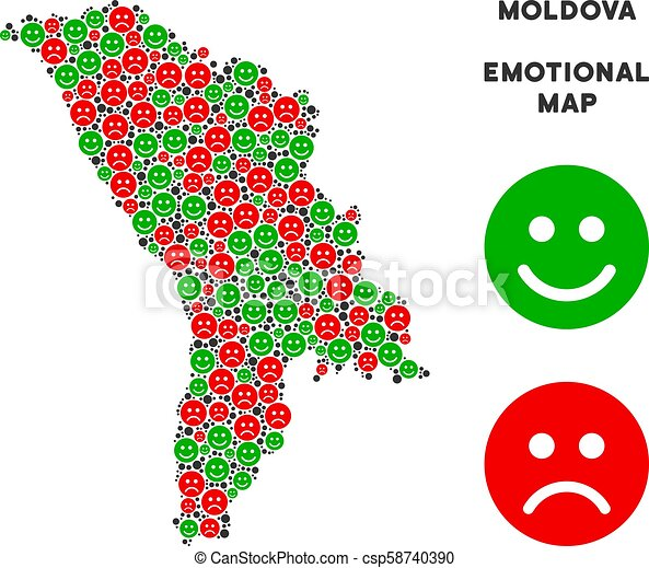 Vector Happiness Moldova Map Mosaic of Emojis