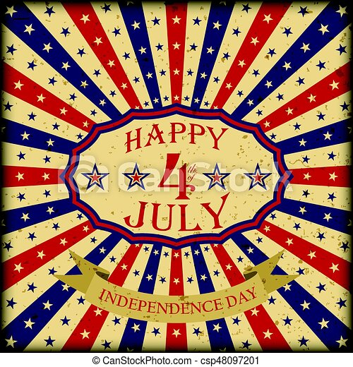 10f1bdf0e7fa9d Vector Happy 4th of July retro design. Independence Day background. -  csp48097201