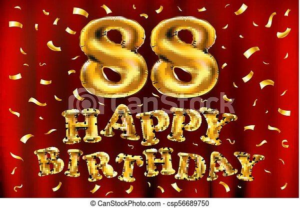 Happy Birthday Design Vector ~ Vector happy birthday 88th celebration gold balloons and clipart