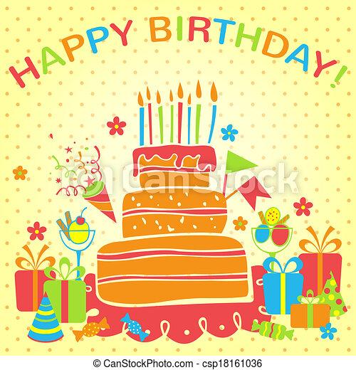 Vector Happy Birthday Background Greeting Card Happy Birthday Card