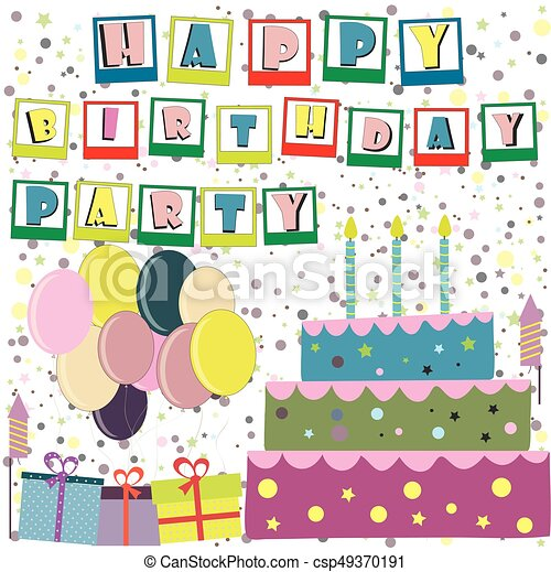 Vector Happy Birthday Card Birthday Cake Vector Illustration
