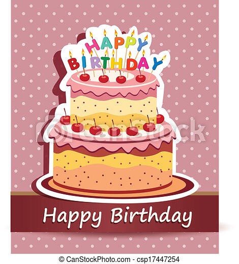 Vector happy birthday card birthday cake vector clipart vector