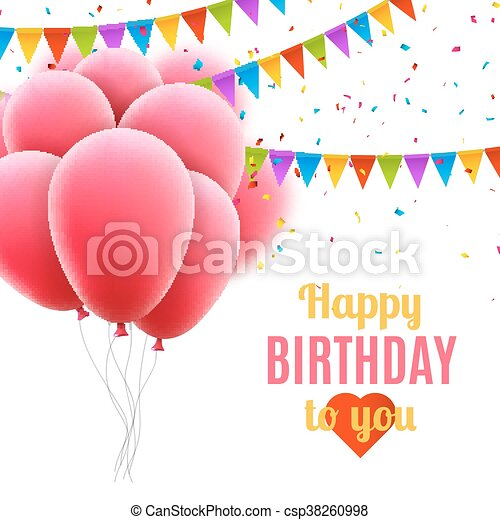 Vector Happy Birthday Card With Pink Balloons And Confetti Party Invitation