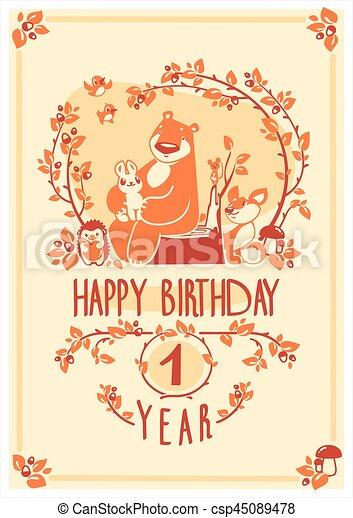 Vector Happy Birthday Greeting Card With Cute Rabbit Bird Hedgehog