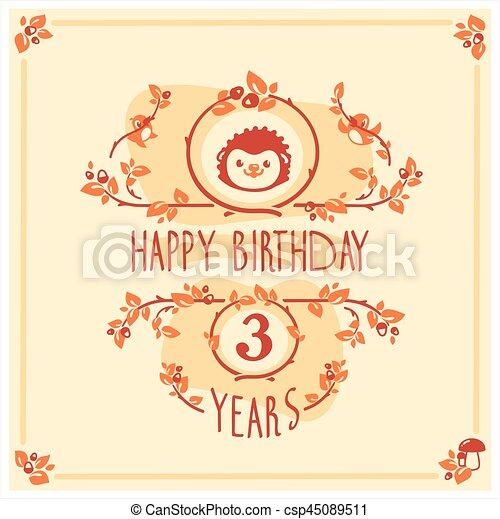 Vector Happy Birthday Greeting Card With Cute Hedgehog Invitation