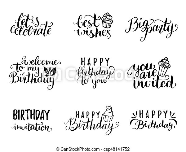 Vector Happy Birthday Hand Lettering Collection Big Party Best Wishes Etc Calligraphy Set For