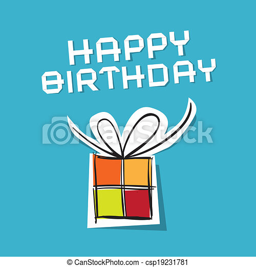 Vector Happy Birthday to You Theme on Blue Background  - csp19231781
