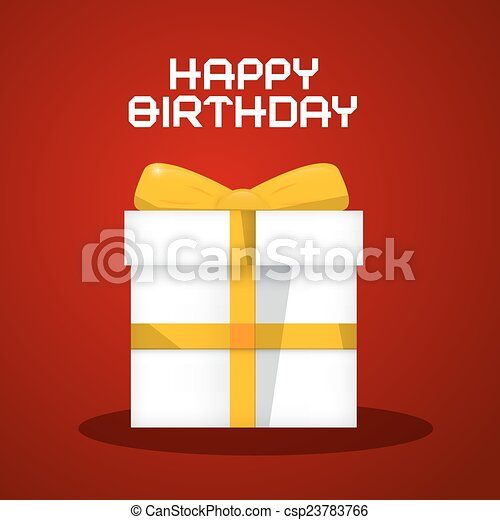 Vector Happy Birthday White Paper Gift Box Illustration on Red Background - csp23783766