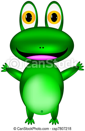 Vector happy green frog - csp7807218