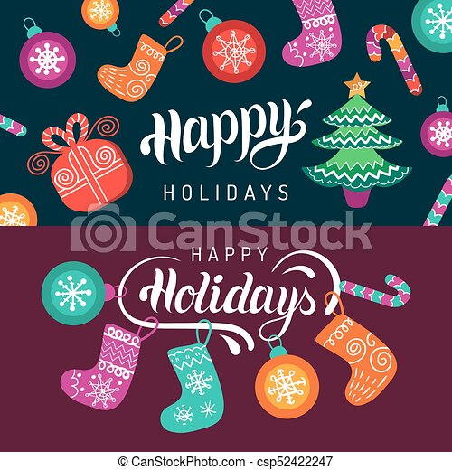 Vector happy holidays lettering design with festive new year... eps ...