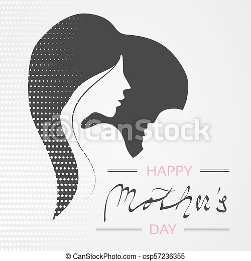 Vector Happy Mother's Day. Greeting card with woman silhouette and baby silhouette in the heart. Decoration text and dotted design. - csp57236355