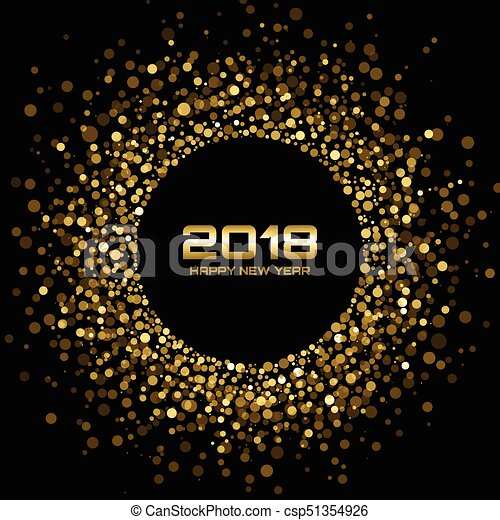 vector happy new year 2018 card background gold bright disco lights halftone circle frame golden round border using halftone circle dots raster texture