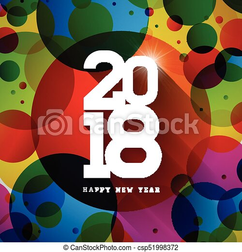 Vector Happy New Year 2018 Illustration on Shiny Colorful Background with Typography Design. EPS 10. - csp51998372