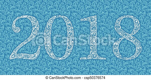 vector happy new year background with 2018 sign constructed with floral elements on floral