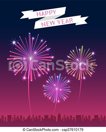 vector happy new year banner with firework over the city