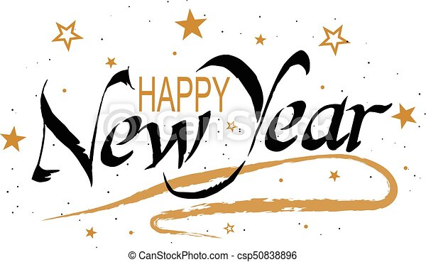 Vector happy new year lettering with stars and snow. holiday ...