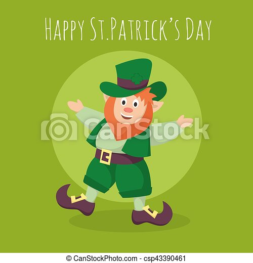 Vector Happy St.Patrick's Day greeting card with happy Leprechaun on green background. - csp43390461