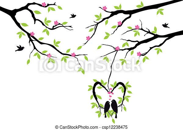 vector, hart, nest, boompje, vogels - csp12238475
