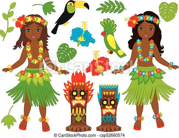 Vector Hawaiian set includes beautiful young girls in traditional Hawaiian costume dancing hula tiki masks parrot toucan hibiscus leaves and palm tree.  sc 1 st  Can Stock Photo & Vector hawaiian set with beautiful young girls tiki masks birds ...