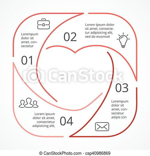 Vector heart circle linear infographic template for love cycle vector heart circle linear infographic template for love cycle diagram graph presentation round ccuart Gallery