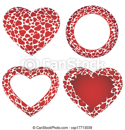Vector heart frames. Vector 3d volume big heart and circle frames ...