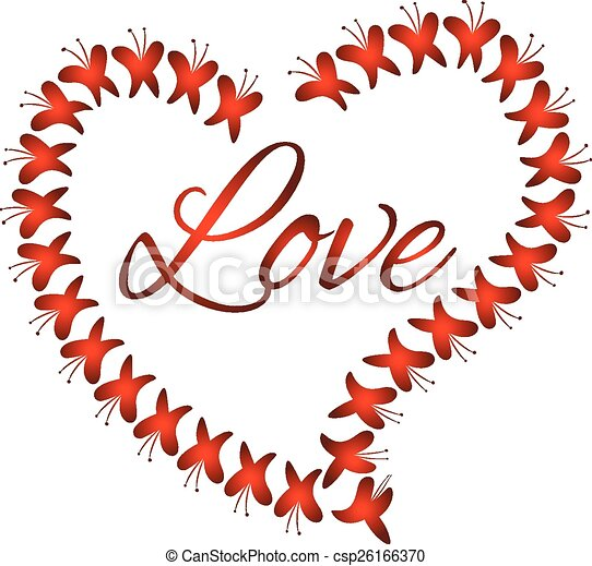 Vector heart love of butterflies - csp26166370