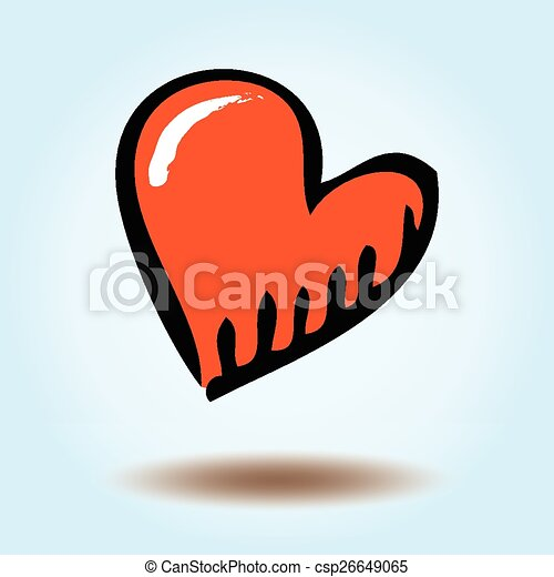Vector heart on a blue background - csp26649065