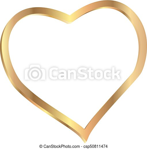 Vector heart shape frame gold isolated on white background ...