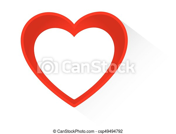 Vector Heart shape frame isolated on white background - csp49494792