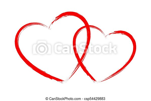 Vector heart shape frame with brush painting isolated on... vector ...