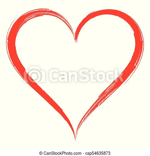 Vector heart shape frame with brush painting isolated on... vectors ...